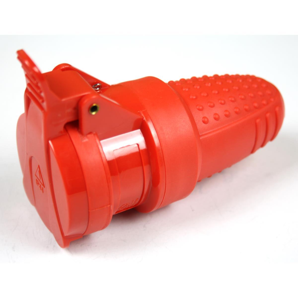 Gummikupplung mit Deckel Schuko Kupplung Rot,OKKO,KF-GBYCP-01-R, 4772013040828