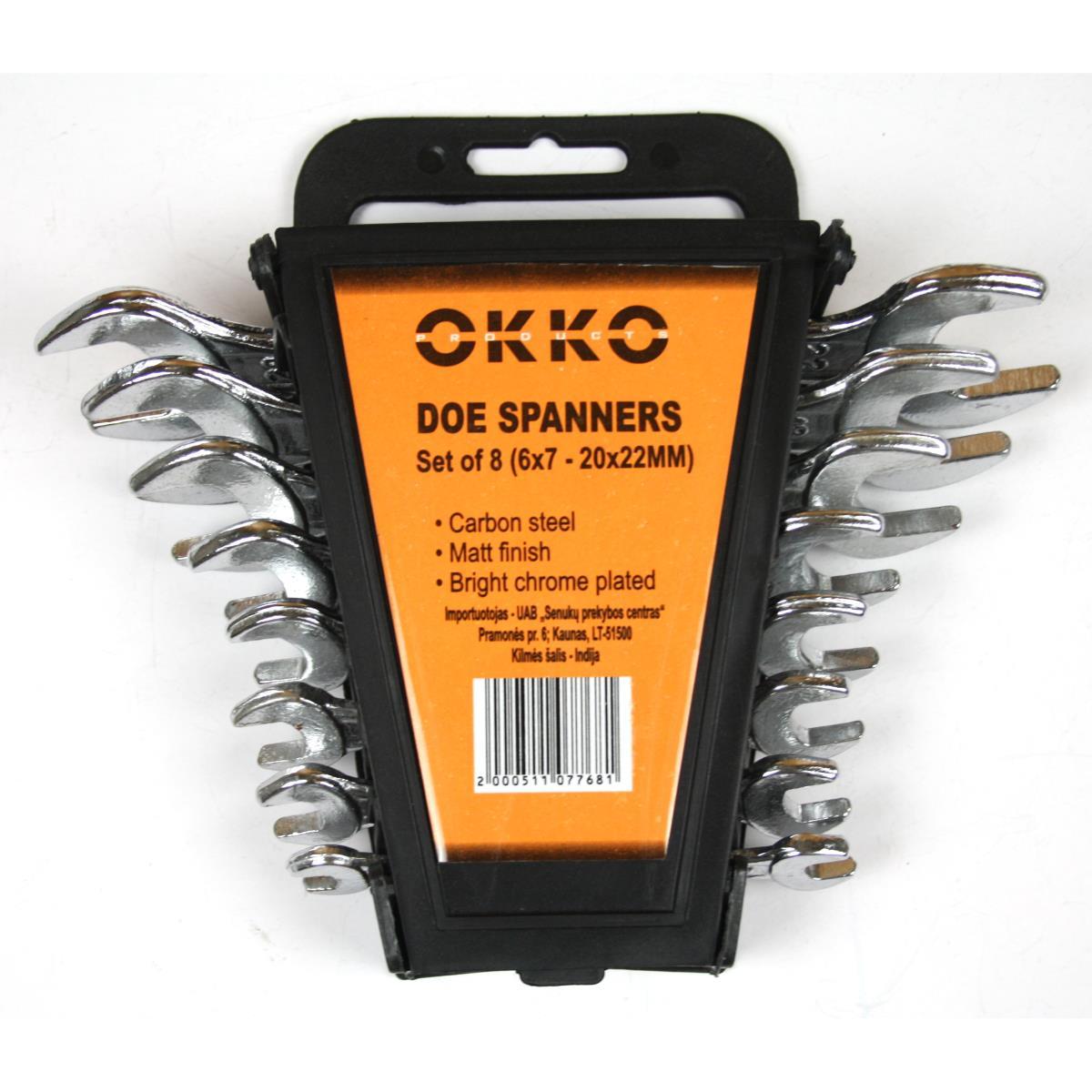 Okko 8 teiliges Schlüssel Maulschlüssel Maul Set 6 x 7mm - 20 x 22 mm,Okko,2000511077681, 2000511077681