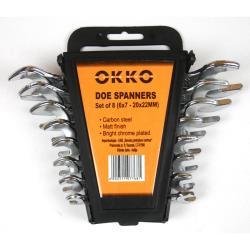 Okko 8 teiliges Schlüssel Maulschlüssel Maul Set 6 x 7mm - 20 x 22 mm
