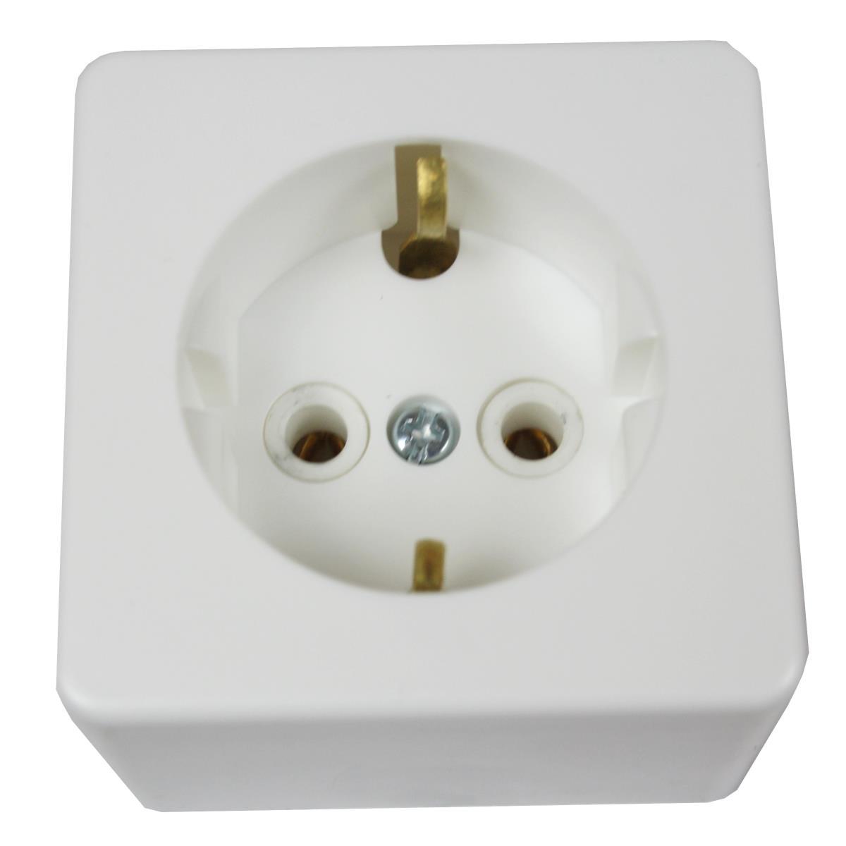 Aufputz Steckdose mit Schutzkontakt weiß 10A, 230 V,Vagner SDH,PA10-209, 4810158002179
