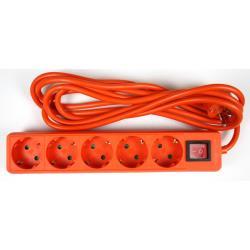 Steckdosenleiste Steckleiste 5 fach, Kinderschutz, Schutzkontakt, 3 m, orange,OKKO,DY-B05KP, 4772013040835