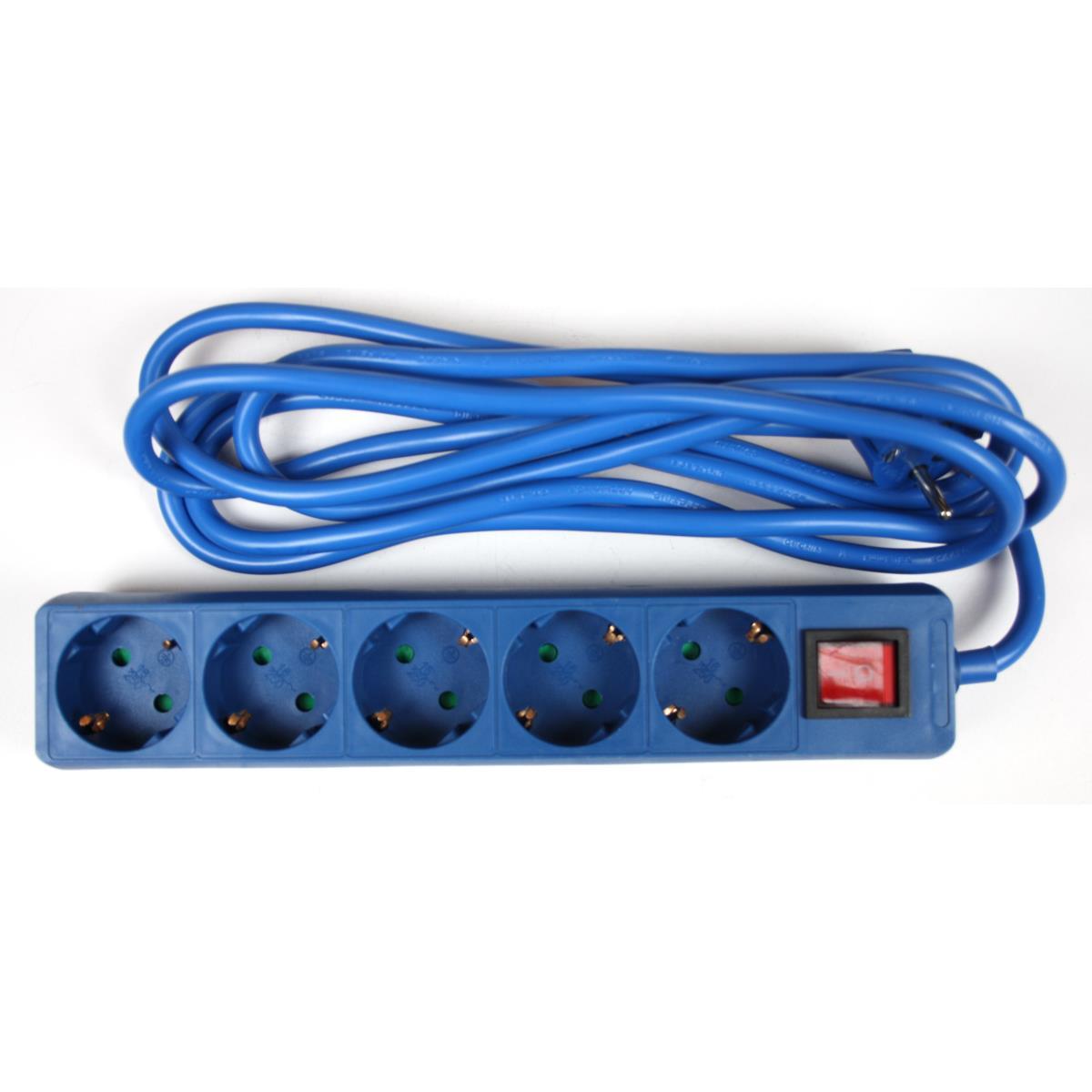 Steckdosenleiste Steckleiste 5 fach, Kinderschutz, Schutzkontakt, 3 m, blau,OKKO,DY-B05KP, 4772013040941