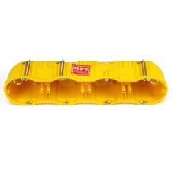 Hohlwanddose 4-fach Abzweigdose Hohlraumdose halogenfrei Ø60x60mm, gelb