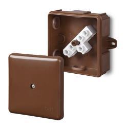 Abzweigdose Aufputz Verteilerdose IP55 braun 86x86x39 EP-LUX mit klemme,Elektro-Plast,0226-61, 5901752632370
