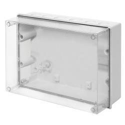 Aufputz Schalkasten IP55 Verteilerkasten 303x213x125 transparent Gehäuse TH35