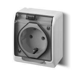 Aufputz AP Schuko einfach 1-fach Steckdose IP44 Feuchtraum HERMES,Elektro-Plast,0324-01, 5901130483938