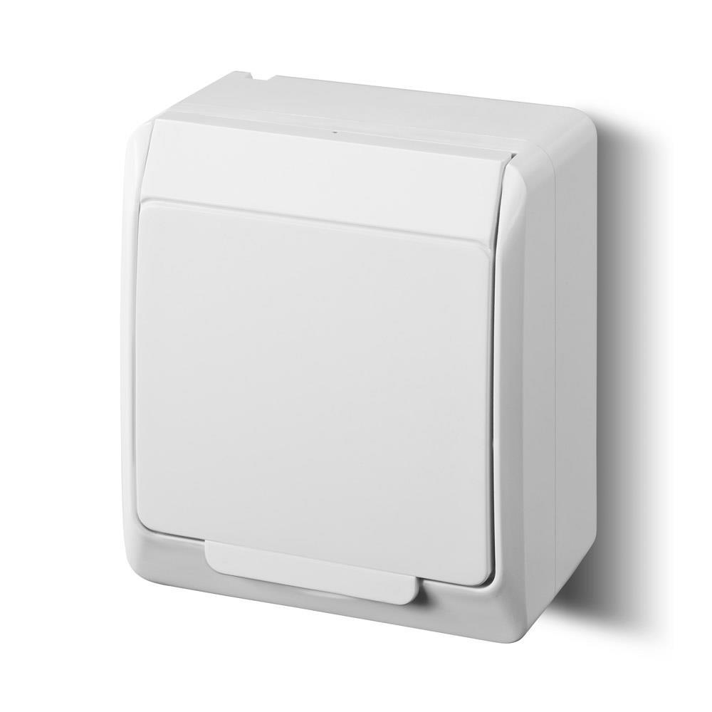 Aufputz AP Schuko einfach 1-fach Steckdose IP44 Farbe weiß Feuchtraum HERMES,Elektro-Plast,0324-02, 5901130483945