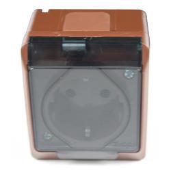 Aufputz AP Schuko einfach Steckdose IP44 Farbe braun Feuchtraum HERMES,Elektro-Plast,0324-05, 5901130483860