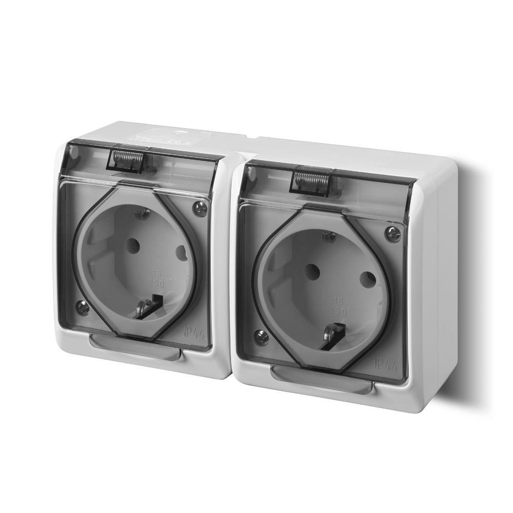 Aufputz AP Schuko doppel zweifach Steckdose IP44 Feuchtraum HERMES,Elektro-Plast,0325-01, 5901130484072