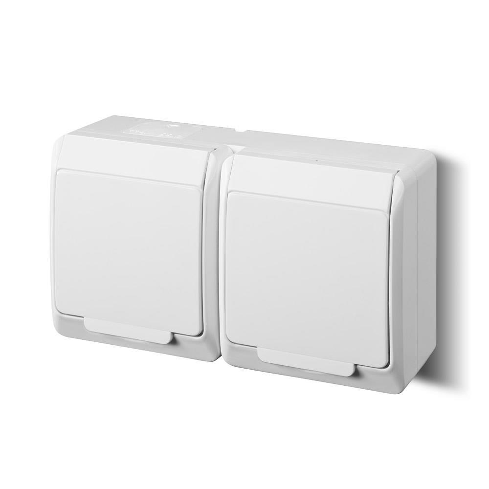 Aufputz AP Schuko doppel zweifach Steckdose IP44 Farbe weiß Feuchtraum HERMES,Elektro-Plast,0325-02, 5901130484089