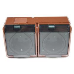 Aufputz Schuko zweifach doppel Steckdose IP44 Farbe braun Feuchtraum HERMES,Elektro-Plast,0325-05, 5901130484256