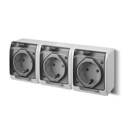 Aufputz AP Schuko dreifach Steckdose IP44 Feuchtraum HERMES,Elektro-Plast,0326-01, 5901130484096