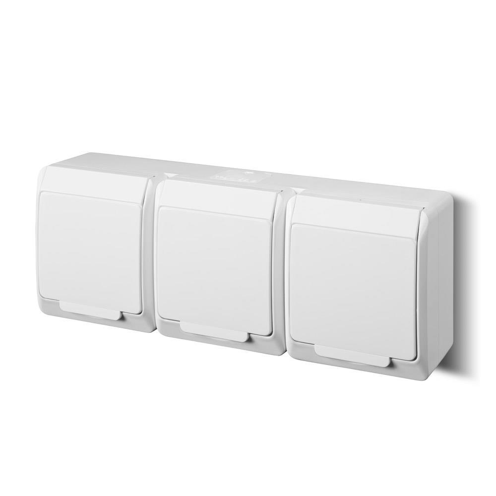 Aufputz AP Schuko dreifach Steckdose IP44 Farbe weiß Feuchtraum HERMES,Elektro-Plast,0326-02, 5901130484102