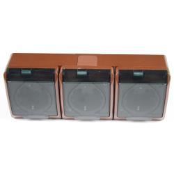 Aufputz AP Schuko dreifach Steckdose IP44 Farbe braun Feuchtraum HERMES,Elektro-Plast,0326-05, 5901130486649