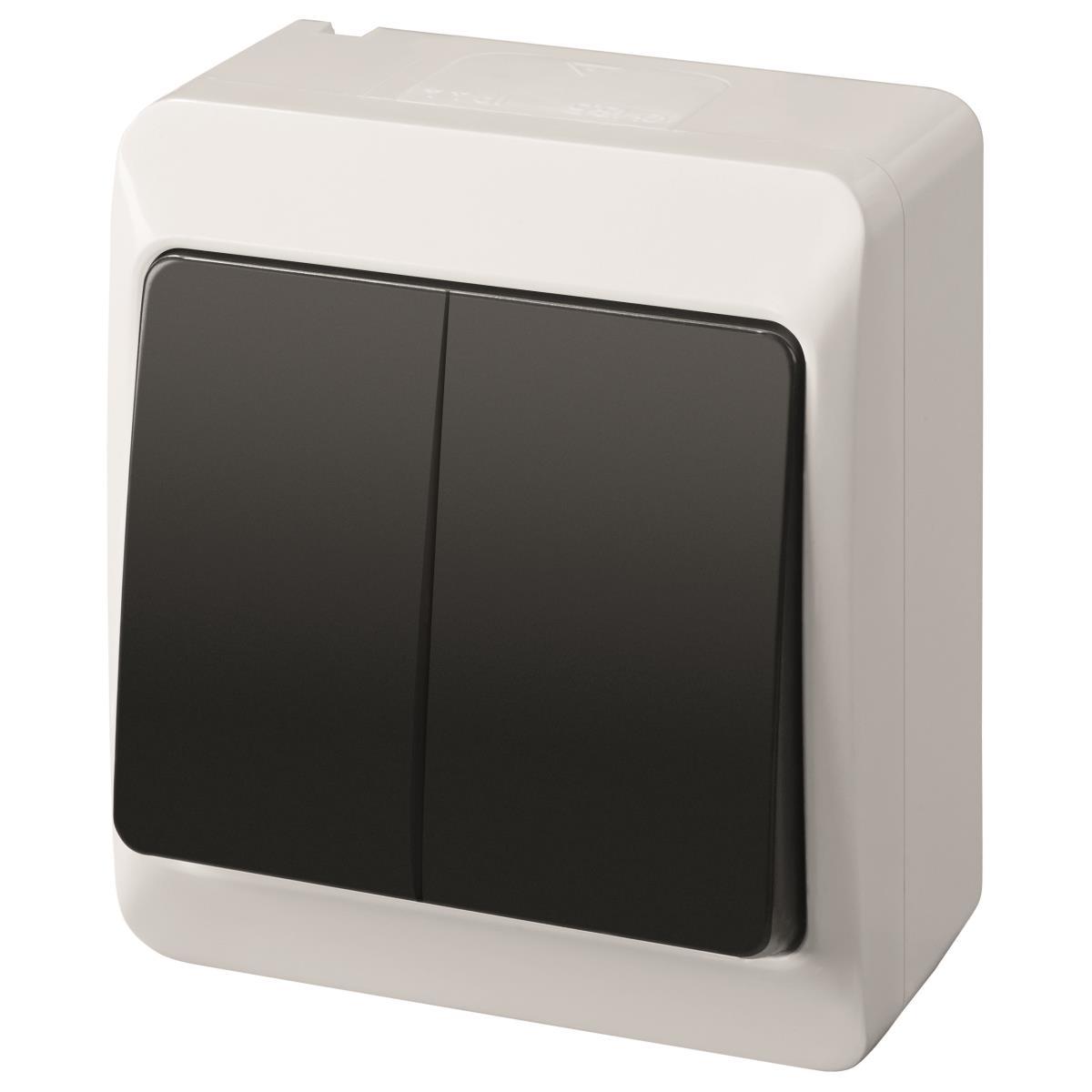 aufputz doppel zweifach lichtschalter schalter 10a 230v ip44 wei schwarz hermes. Black Bedroom Furniture Sets. Home Design Ideas