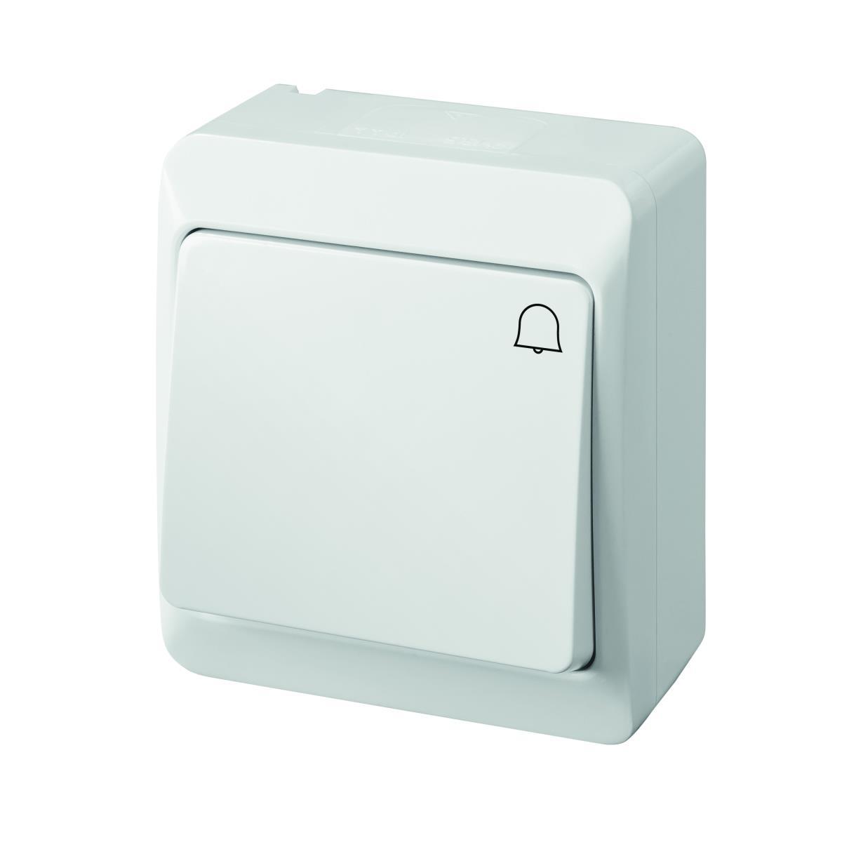 Aufputz Klingel Taster 10 A 230 V IP44 Farbe weiß HERMES,Elektro-Plast,0337-02, 5901130484027