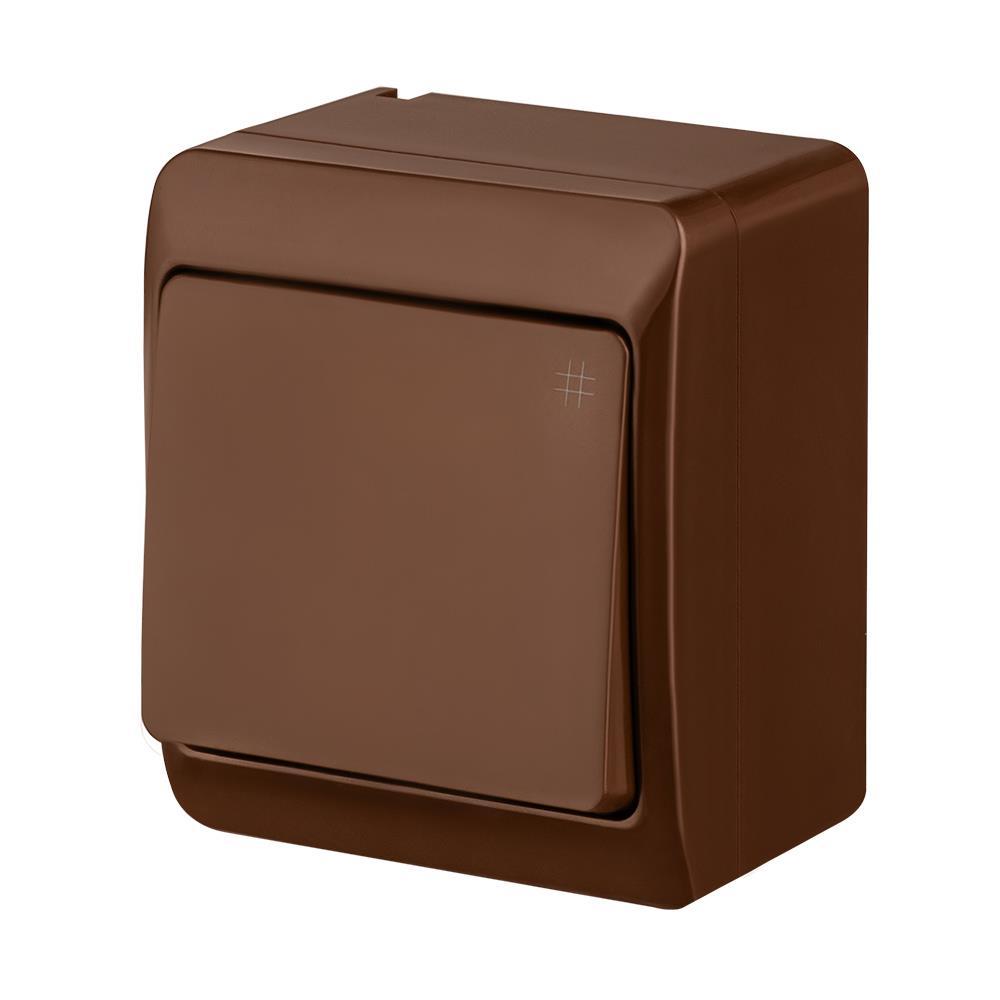 Aufputz AP Schalter einfach Kreuzschalter IP44 Farbe braun HERMES,Elektro-Plast,0338-06, 5901130483259