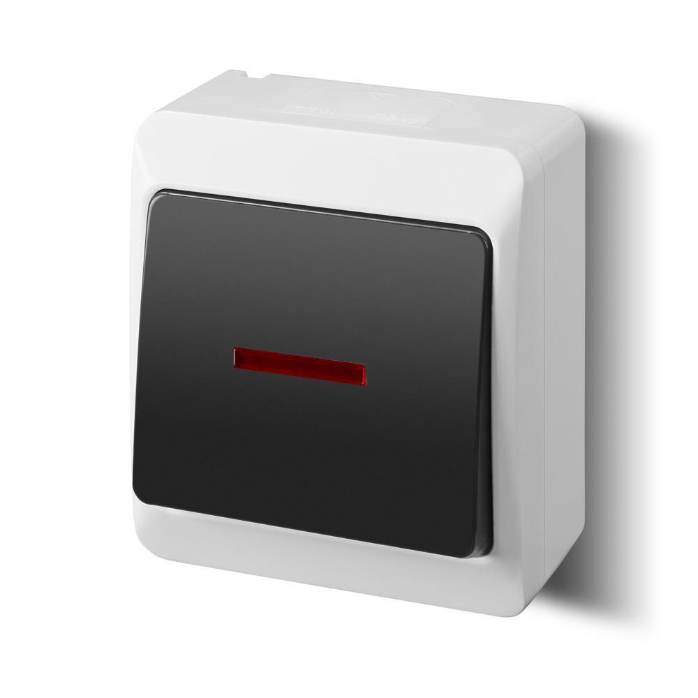 Aufputz einfach Lichtschalter Schalter 10 A IP44 weiß/schwarz Beleuchtet HERMES,Elektro-Plast,0341-01, 5906868436300