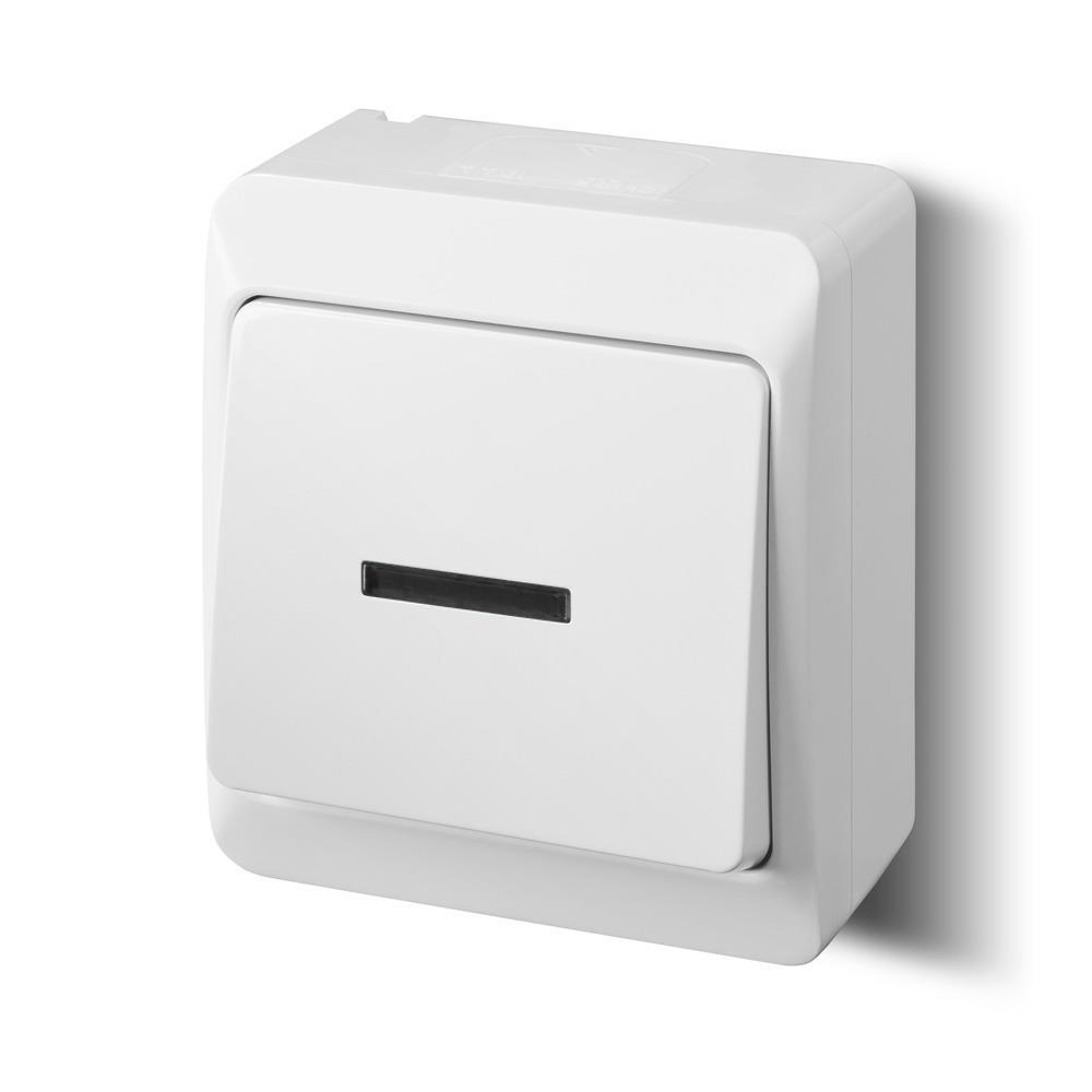 Aufputz einfach Lichtschalter Schalter 10 A IP44 Farbe weiß Beleuchtet HERMES,Elektro-Plast,0341-02, 5906868436324
