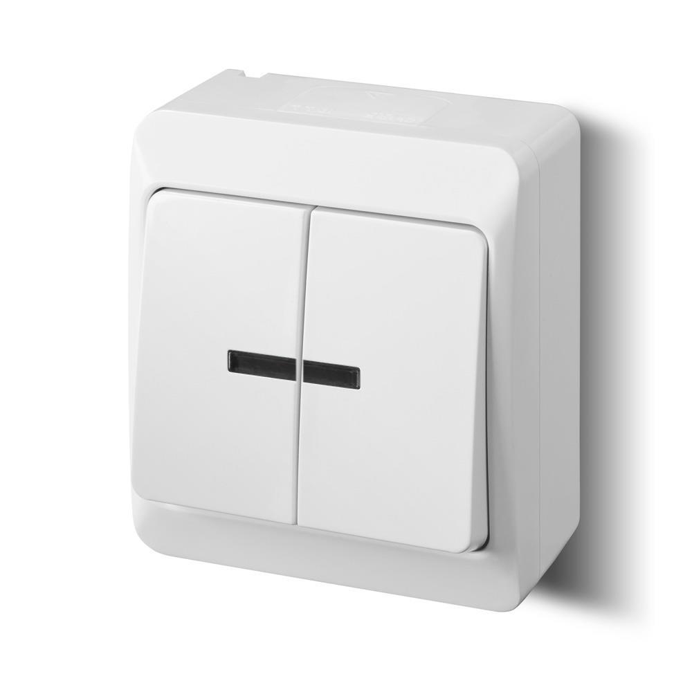 aufputz serienschalter beleuchtet ip44 wei zweifach. Black Bedroom Furniture Sets. Home Design Ideas