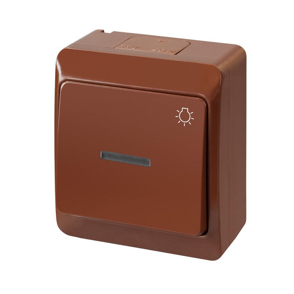 Braun Farbe: Aufputz Einfach Taster Licht IP44 Farbe Braun Beleuchtet