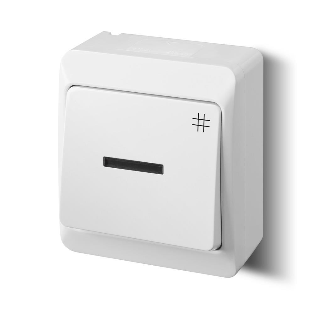 Aufputz AP Schalter einfach Kreuzschalter IP44 Farbe weiß Beleuchtet ...