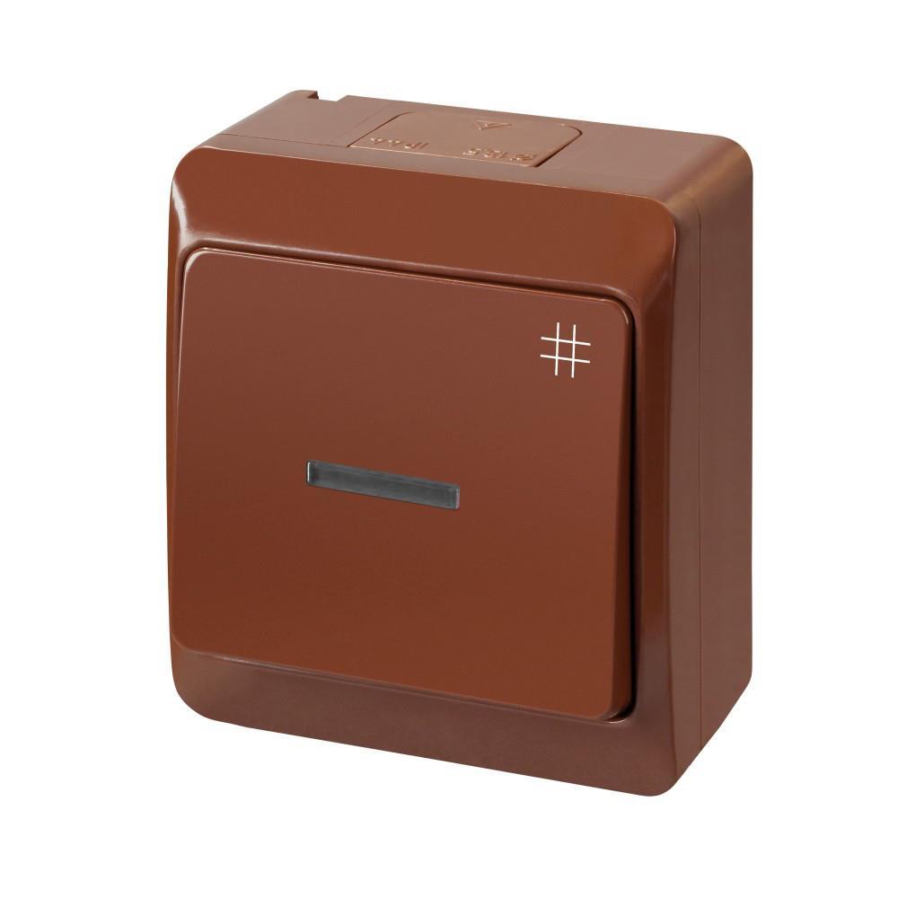 Aufputz AP Schalter einfach Kreuzschalter IP44 Farbe braun Beleuchtet HERMES,Elektro-Plast,0348-06, 5901130483358