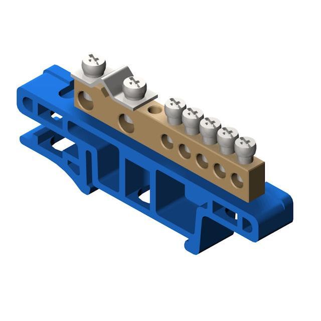 PE Klemme für Hutschiene 7-polig Sammelklemme, Verteilerklemme blau ,Elektro-Plast,0920-00, 5901130487516