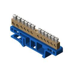 PE Klemme für Hutschiene 12-polig Sammelklemme, Verteilerklemme blau ,Elektro-Plast,0921-00, 5901130487547