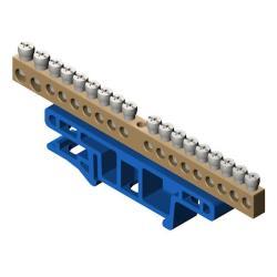 PE Klemme für Hutschiene 18-polig Sammelklemme, Verteilerklemme blau ,Elektro-Plast,0922-00, 5901130487578