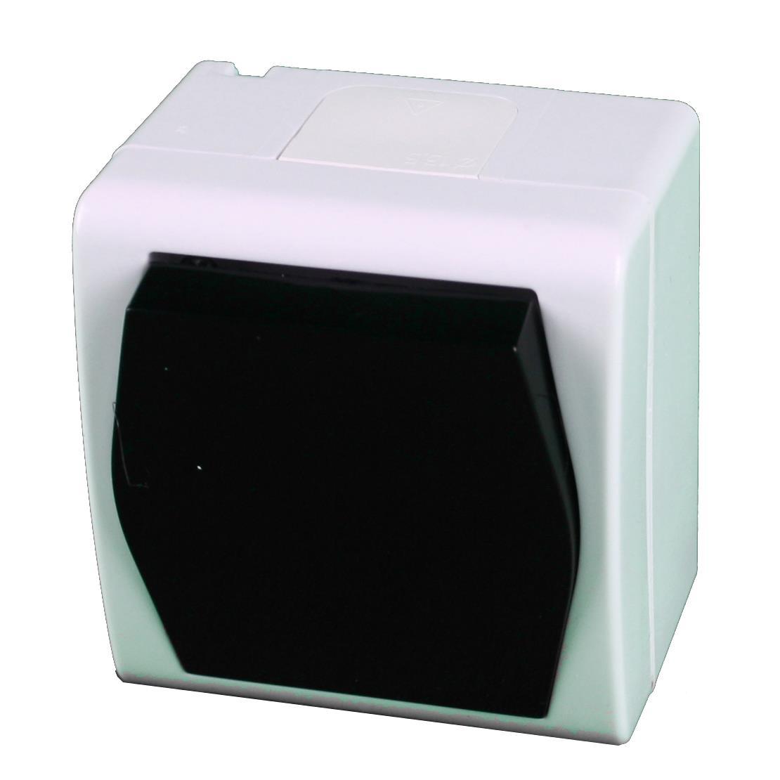 Aufputz Schalter einpolig IP44 10 A 230 V weiß/schwarz HERMES2