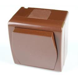 Aufputz Schalter einpolig IP44 10 A 230 V braun Lichtschalter Ein/Aus HERMES2,Elektro-Plast,1001-20, 5901130486663