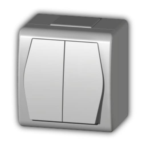 Aufputz doppel zweifach Schalter IP44 10 A 230 V weiß HERMES2,Elektro-Plast,1002-00, 5907569150816