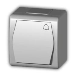 Aufputz Taster Klingel Schalter Taster IP44, Farbe weiß, 10 A 230 V HERMES2,Elektro-Plast,1005-00, 5907569150878