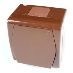 Aufputz Taster Klingel Schalter IP44, Farbe braun, 10 A 230 V HERMES2