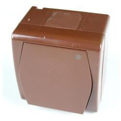 Aufputz AP Schalter einfach Kreuzschalter IP44 Farbe braun HERMES2