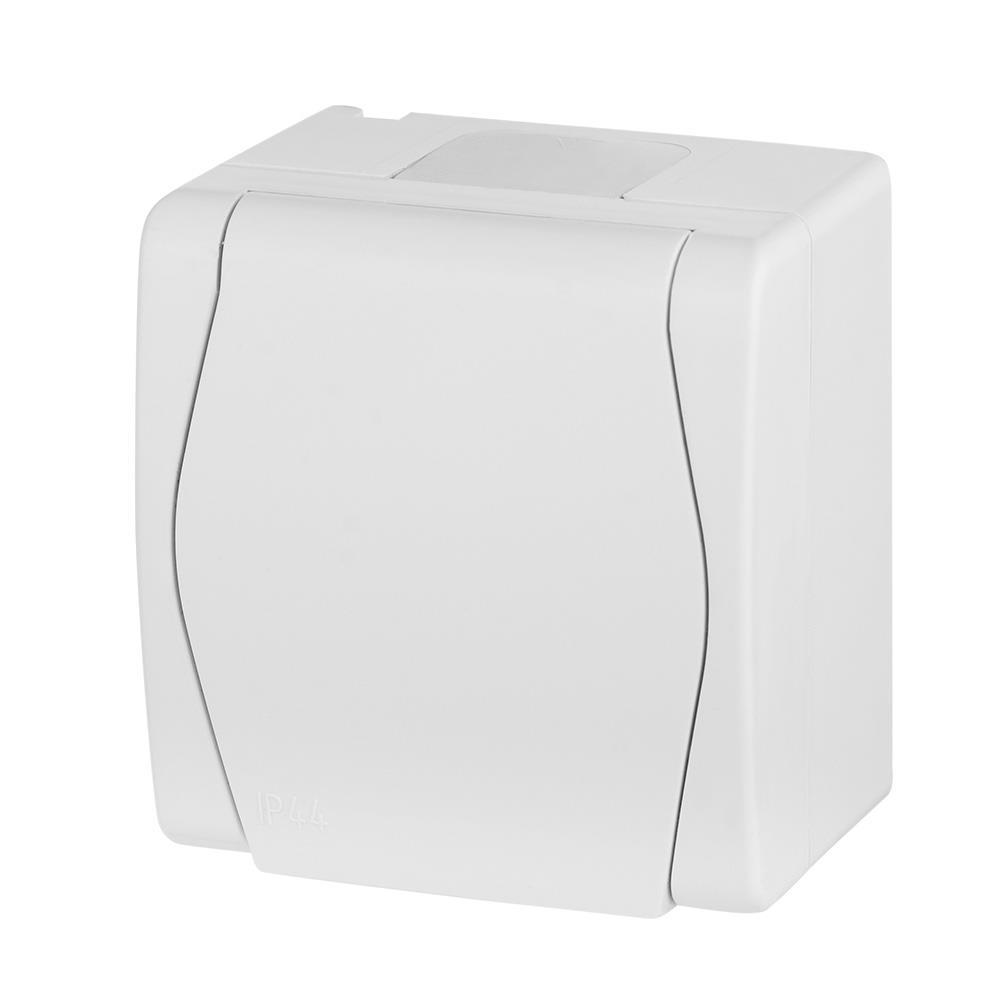 Aufputz AP Schuko einfach Steckdose IP44, Farbe weiß HERMES2,Elektro-Plast,1024-00, 5907569151097