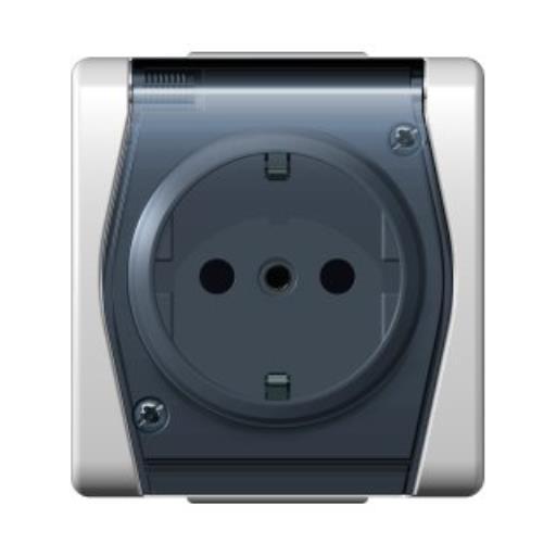 Aufputz AP einfach Schuko Steckdose Aufputzsteckdose IP44 HERMES2,Elektro-Plast,1024-01, 5907569151103