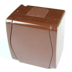 Aufputz AP Schuko einfach Steckdose IP44, Farbe braun HERMES2,Elektro-Plast,1024-20, 5901130486939