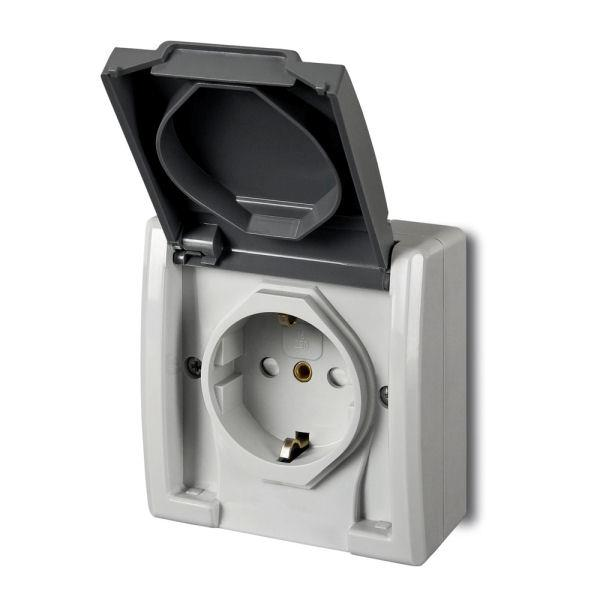 Aufputz Schuko einfach Steckdose IP55 Farbe grau Feuchtraum AQUANT,Elektro-Plast,1244-10, 5901130487912