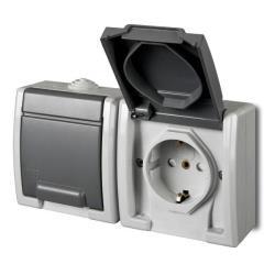 Aufputz Schuko zweifach Steckdose IP55 Farbe grau Feuchtraum AQUANT,Elektro-Plast,1245-10, 5901130487936