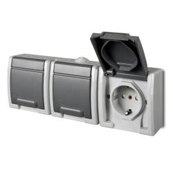 Aufputz Schuko dreifach Steckdose IP55 Farbe grau Feuchtraum AQUANT,Elektro-Plast,1246-10, 5901130487950