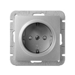 Unterputz Schuko Steckdose 16A silber Premium serie SENTIA,Elektro-Plast,1437-56, 5901752631793