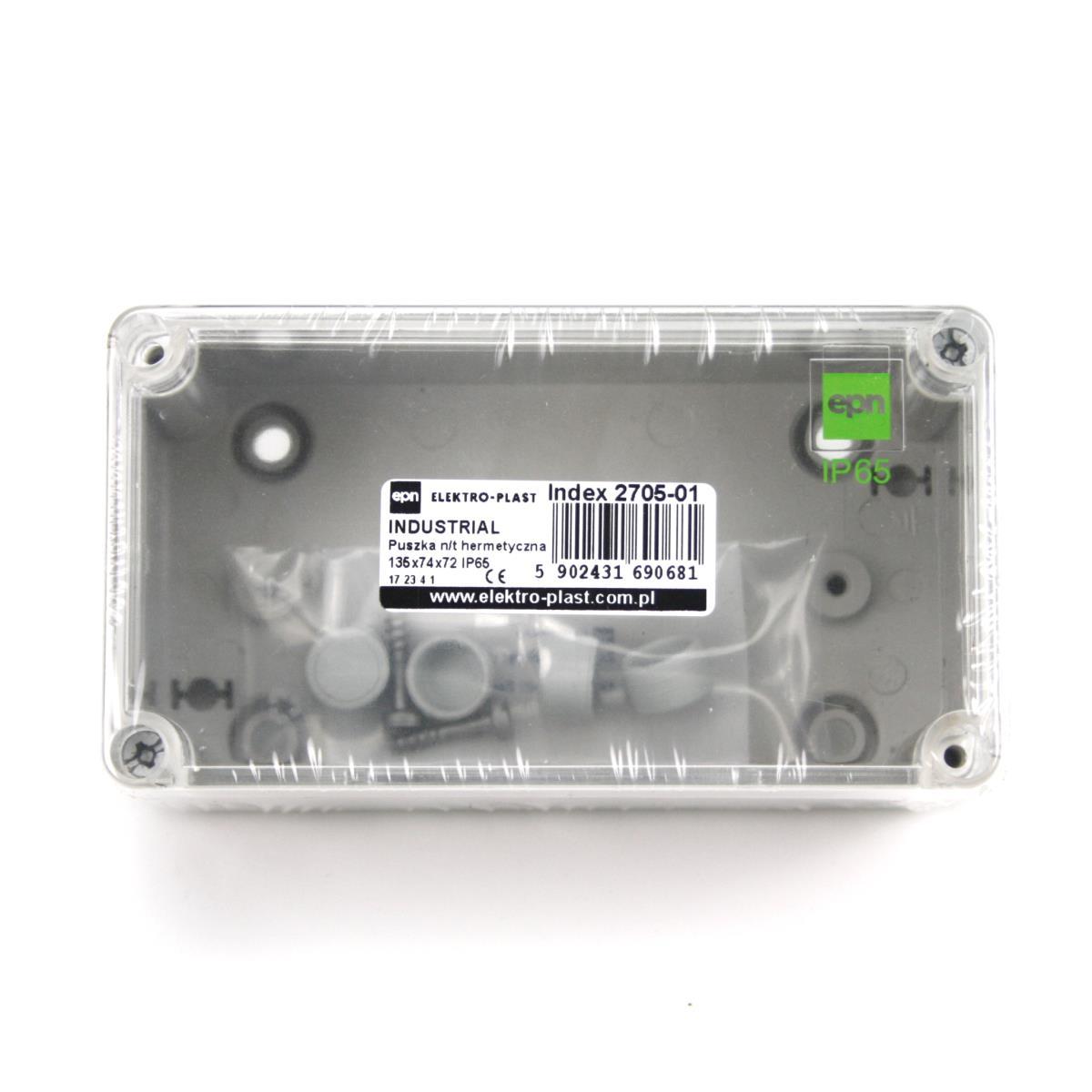 Aufputz Schalkasten IP65 Verteilerkasten 135x74x72 transparent Industrie Gehäuse,Elektro-Plast,2705-01, 5902431690681