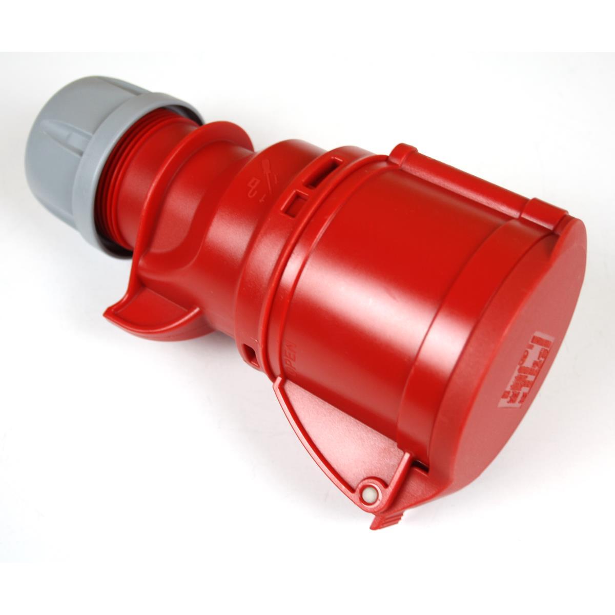 CEE Kupplung 32A 5-polig Starkstrom mit Deckel IP44 400V 6h Rot PCE,PCE,X100492, 5907711100492