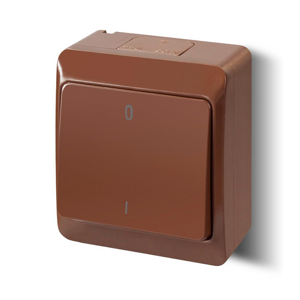 Aufputz 2-polig Schalter 10A 230 V IP44 Farbe braun (Heizung-Notschalter) HERMES,Elektro-Plast,0333-06, 5901752638129