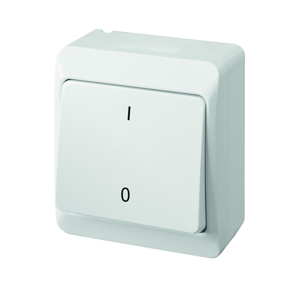 Aufputz 2-polig Schalter 10A 230 V IP44 Farbe weiß (Heizung-Notschalter) HERMES,Elektro-Plast,0333-02, 5901130484423
