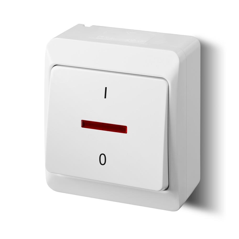 Aufputz 2-polig Schalter weiß Beleuchtet (Heizung-Notschalter) HERMES,Elektro-Plast,0343-02, 5907569154517