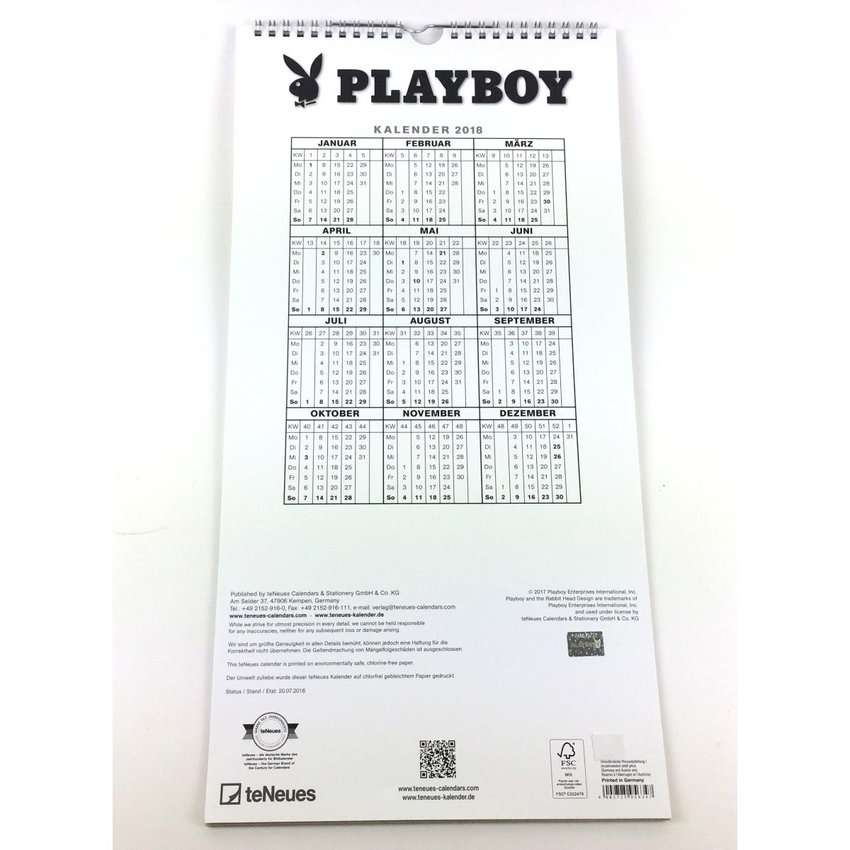 kalender playboy 2018 playboykalender erotikkalender. Black Bedroom Furniture Sets. Home Design Ideas