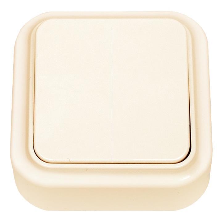 Aufputz Serienschalter Lichtschalter  IP20, farbe creme, serie VIKA,Vagner SDH,A56-134 (01), 4810158009604